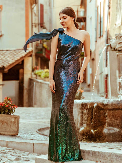 Long One Shoulder Sequin Evening Dress