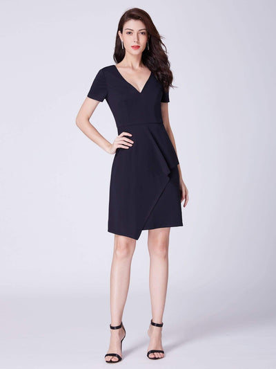 Alisa Pan Casual V Neck Short Sleeve Dress