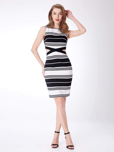 Alisa Pan Striped Bodycon Party Dress