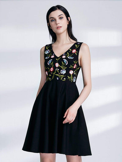 Alisa Pan Embroidered V Neck Little Black Dress