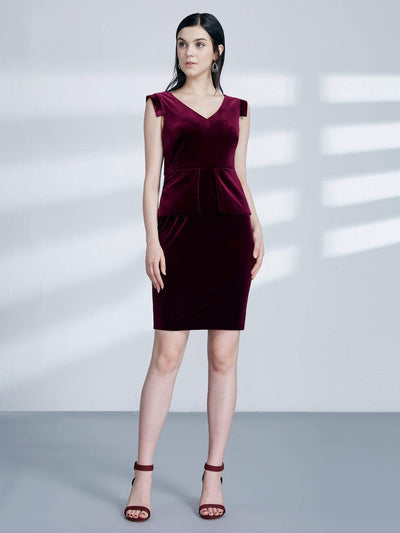 Alisa Pan Short Velvet Cocktail Dress with Peplum