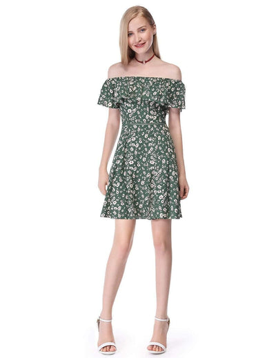 Alisa Pan Floral Off-the-Shoulder Mini Dress with Floral Print