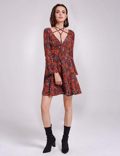 Alisa Pan V Neck Paisley Print Boho Dress