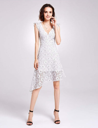 Alisa Pan V Neck Lace Party Dress