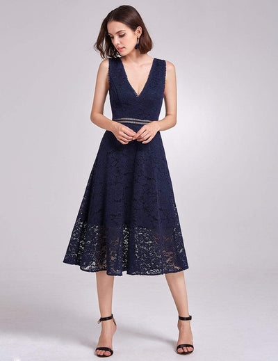 Alisa Pan V-Neck Lace Party Dress