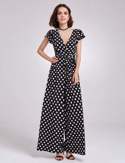 Alisa Pan Wide Legged V Neck Polka Dot Jumpsuit