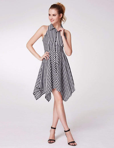 Alisa Pan Button Up Fit and Flare Gingham Dress