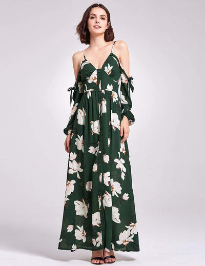Cold Shoulder Floral Print Maxi Dress