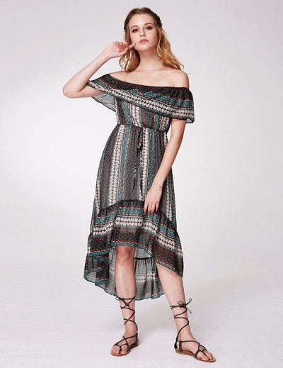 Alisa Pan Off Shoulder Printed Boho Dress