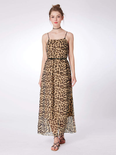 Alisa Pan Leopard Print Summer Maxi Dress