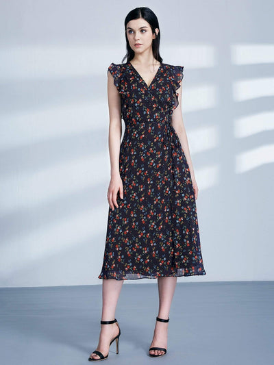 Retro Floral Print V Neck Midi Wrap Dress