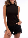 Simple Round Neck Sleeveless Knitted Summer Shirt Top-Black 1