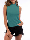 Simple Round Neck Sleeveless Knitted Summer Shirt Top-Sky Blue 1