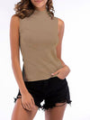 Simple Round Neck Sleeveless Knitted Summer Shirt Top-Mushroom 1