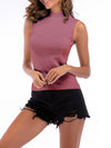 Simple Round Neck Sleeveless Knitted Summer Shirt Top-Purple 2