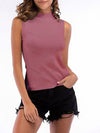 Simple Round Neck Sleeveless Knitted Summer Shirt Top-Purple 1
