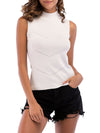 Simple Round Neck Sleeveless Knitted Summer Shirt Top-White 1