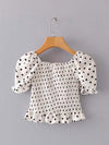 Sweet Polka Dot Ruffled Crop Top With Short Puff Sleeves-White 2
