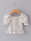 Sweet Polka Dot Ruffled Crop Top With Short Puff Sleeves-White 1