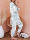 Feminine Tie-Dye Loungewear Track Suit For Sports-Light Blue 3