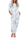 Feminine Tie-Dye Loungewear Track Suit For Sports-Light Blue 1