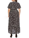Chic Maxi Floral Printed V Neck Short Sleeves Plus Size Summer Dress-Black 2