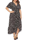 Chic Maxi Floral Printed V Neck Short Sleeves Plus Size Summer Dress-Black 3