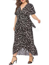 Chic Maxi Floral Printed V Neck Short Sleeves Plus Size Summer Dress-Black 4