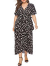 Chic Maxi Floral Printed V Neck Short Sleeves Plus Size Summer Dress-Black 1
