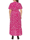 Chic Maxi Floral Printed V Neck Short Sleeves Plus Size Summer Dress-Hot Pink 2