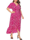 Chic Maxi Floral Printed V Neck Short Sleeves Plus Size Summer Dress-Hot Pink 3