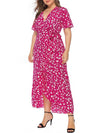 Chic Maxi Floral Printed V Neck Short Sleeves Plus Size Summer Dress-Hot Pink 4