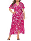 Chic Maxi Floral Printed V Neck Short Sleeves Plus Size Summer Dress-Hot Pink 1