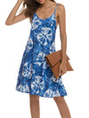Bohenmian Floral Printed Cami Summer Dress With Spaghetti Straps-Navy Blue 3