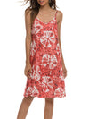 Bohenmian Floral Printed Cami Summer Dress With Spaghetti Straps-Red 4