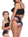 Girl'S Cute Flounce High Waisted Parent-Child Bikini-Black 2