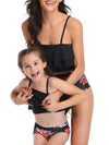 Girl'S Cute Flounce High Waisted Parent-Child Bikini-Black 3