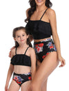 Girl'S Cute Flounce High Waisted Parent-Child Bikini-Black 4