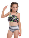 Girl'S Cute Flounce High Waisted Parent-Child Bikini-Green 1
