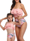 Girl'S Cute Flounce High Waisted Parent-Child Bikini-Pink 2