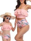 Girl'S Cute Flounce High Waisted Parent-Child Bikini-Pink 3