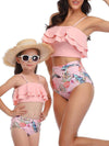 Girl'S Cute Flounce High Waisted Parent-Child Bikini-Pink 4