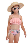 Girl'S Cute Flounce High Waisted Parent-Child Bikini-Pink 1