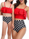Girl'S Cute Flounce High Waisted Parent-Child Bikini-Red 3