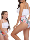 Girl'S Cute Flounce High Waisted Parent-Child Bikini-White 2