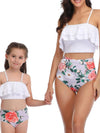 Girl'S Cute Flounce High Waisted Parent-Child Bikini-White 3