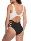 Hot Hollow One-Piece Bathing Suit Swimwear For Women-Black & White 2