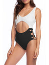 Hot Hollow One-Piece Bathing Suit Swimwear For Women-Black & White 1