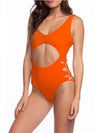 Hot Hollow One-Piece Bathing Suit Swimwear For Women-Red 1