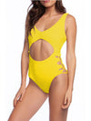 Hot Hollow One-Piece Bathing Suit Swimwear For Women-Yellow 1